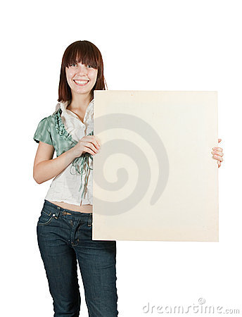 Teenager girl  holds  poster