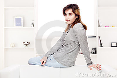 Teenager girl at home