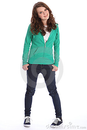 Teenager Girl In Jeans And Hoodie With Big Smile Stock