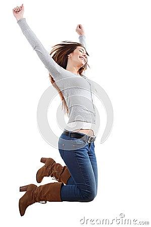 Teenager girl jumping happy