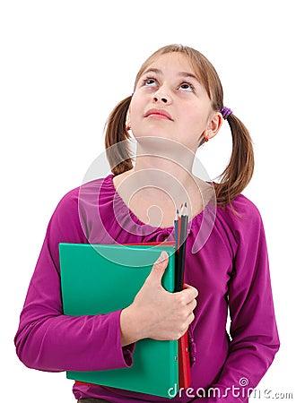 Teenager girl looking up