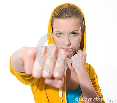 Teenager girl punching