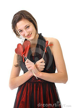 Teenager girl and red hearts