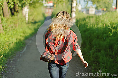 Teenager girl in red shirt