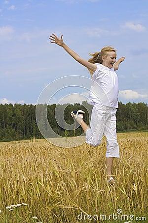 Teenager girl run happiness