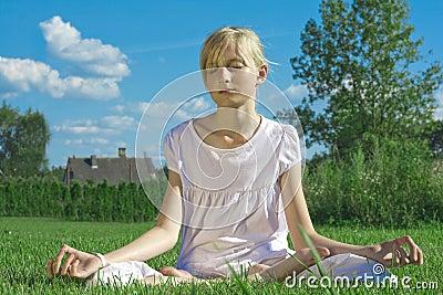 Teenager girl s meditation