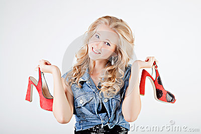 Teenager girl with shoes