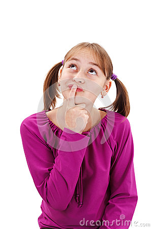 Teenager girl thinking and holding finger at mouth