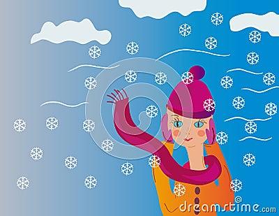 Teenager girl in winter wind