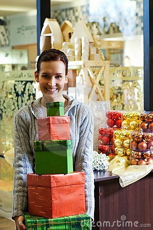 Free Teenager Girl With Gift Boxes Stock Image - 3738681