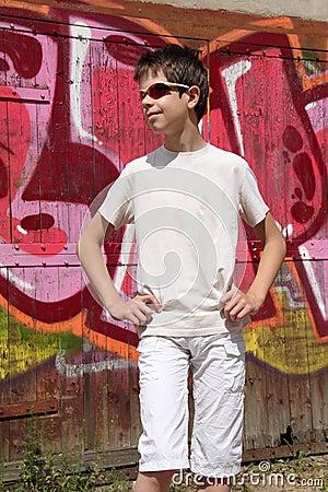 Teenager and graffiti