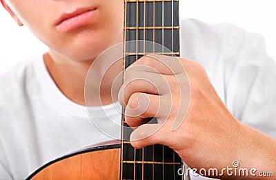 Teenager with Guitar Closeup