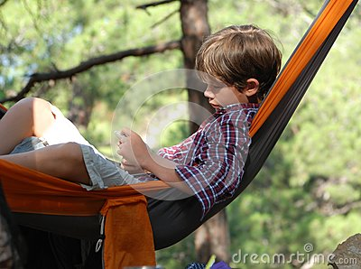 Teenager in a hammock