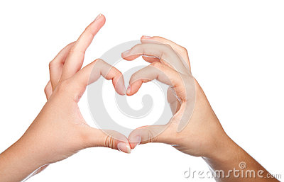 Teenager hands form a heart shape