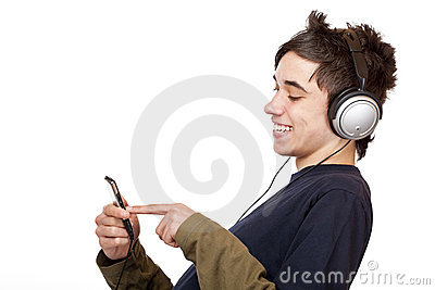 Teenager with headphone use mp3 music player