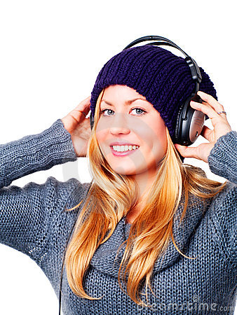 Teenager With Headphones Listening Music Stock Photo - Image: 14646490