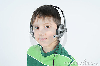 A teenager with a headset