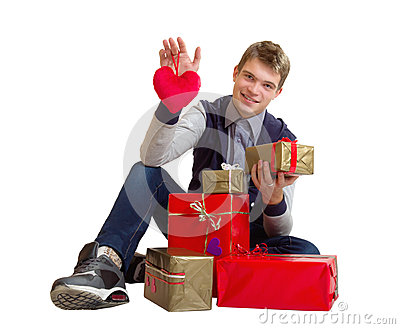 Teenager with heart and gifts isolated