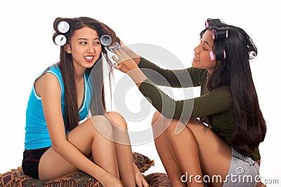 Teenager helping her friend