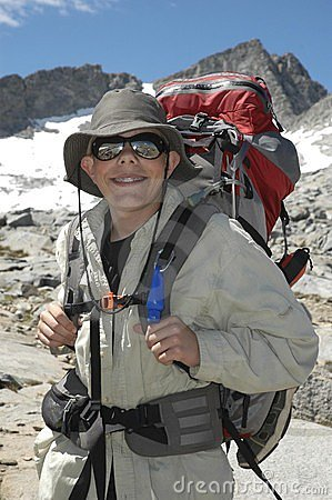 Teenager hiking in mountains