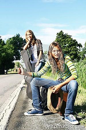 Teenager hitchhiking