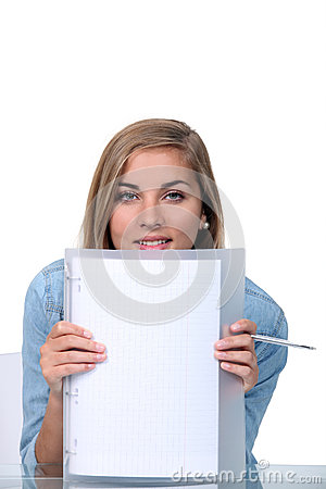 Teenager holding blank paper
