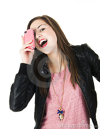 Teenager holding a cell