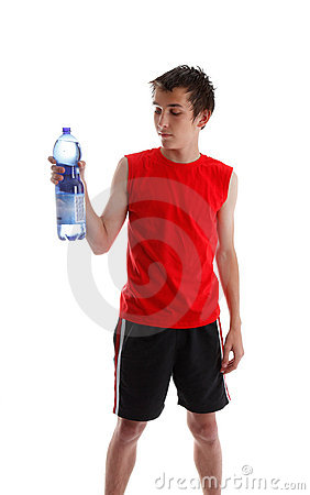 Teenager holding large bottle of water