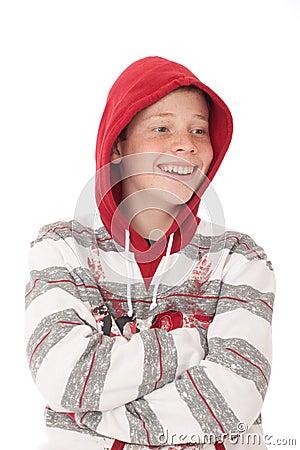 Teenager in hood