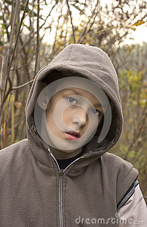 Teenager with hood