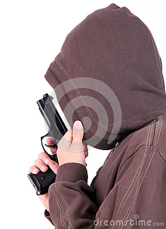 Teenager in the hood with gun.