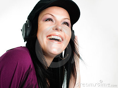 teenager listening music in headphones