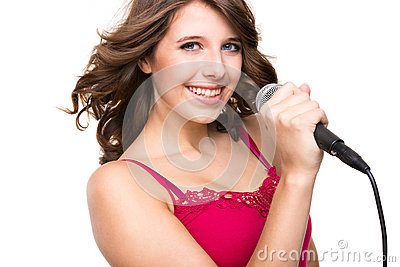 Teenager with microphone
