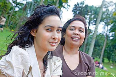 Teenager with mom in outdoor park