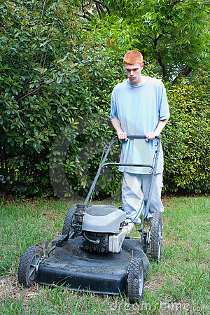 Teenager Mowing the Lawn 2