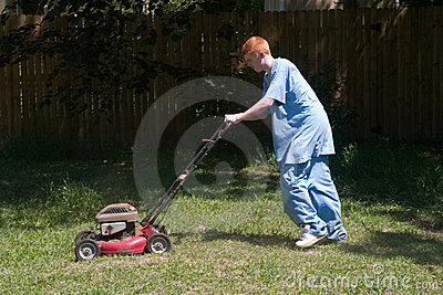 Teenager Mowing the Lawn 6