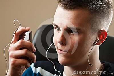 Teenager  with Music Player