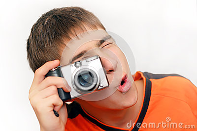 Teenager With Photocamera