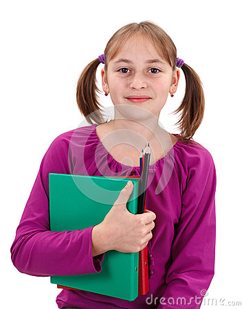 Teenager pigtailed girl with maps and pencils