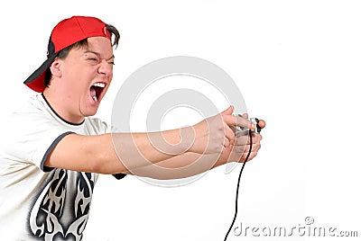 Teenager playing game