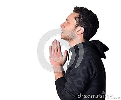 A teenager praying