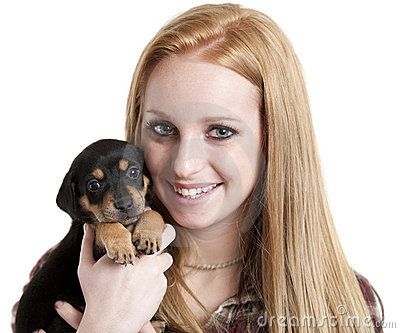 Teenager with puppy