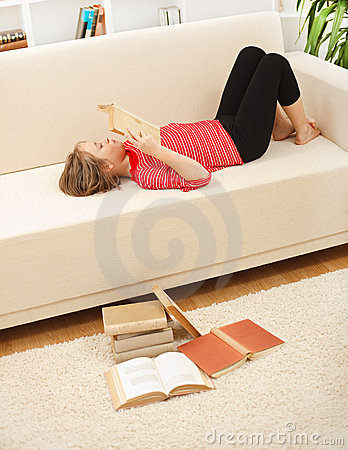 Teenager reading books