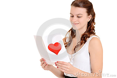 Teenager reading a valentines card
