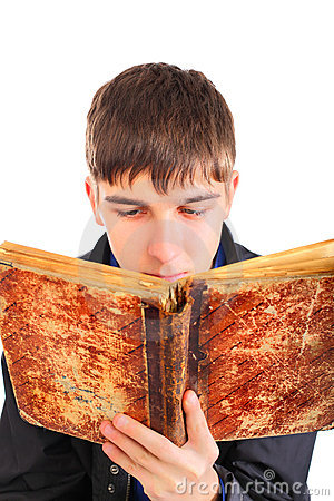 Teenager reads old book