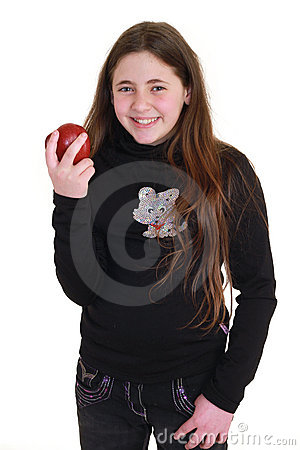 Teenager with red apple