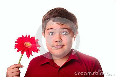 Teenager and red flower