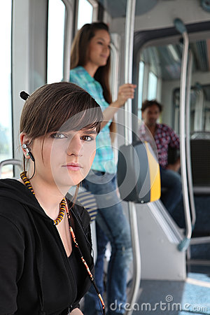 Teenager riding the tram