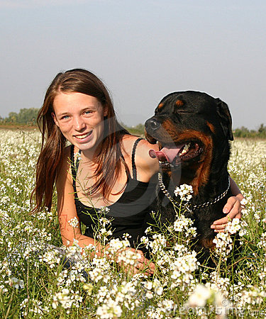 Teenager and rottweiler