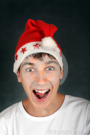 Teenager in Santas Hat
